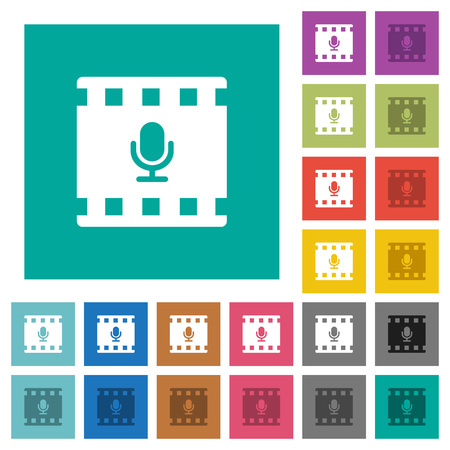 Movie voice multi colored flat icons on plain square backgrounds. Included white and darker icon variations for hover or active effects.