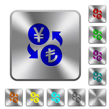 Yen Lira money exchange engraved icons on rounded square glossy steel buttons