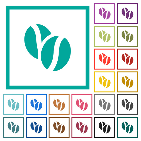Coffee beans flat color icons with quadrant frames on white background