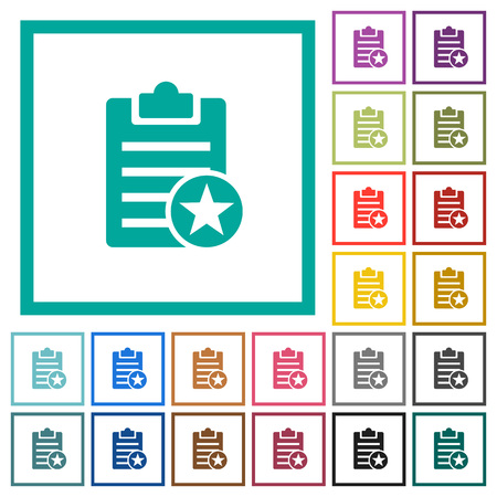 Marked note flat color icons with quadrant frames on white background 向量圖像