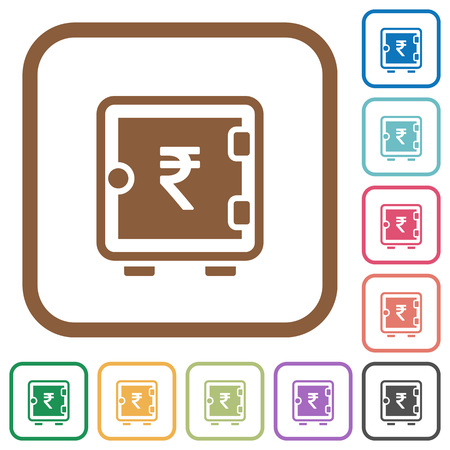Indian Rupee strong box simple icons in color rounded square frames on white background