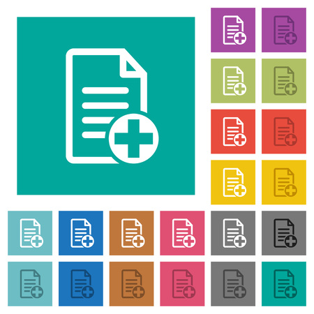 Add new document multi colored flat icons on plain square backgrounds. Included white and darker icon variations for hover or active effects.