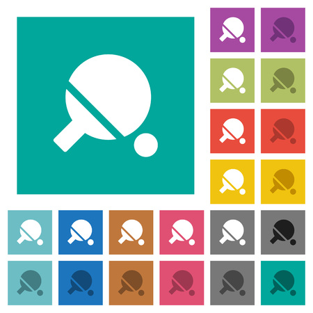 Table tennis multi colored flat icons on plain square backgrounds. Included white and darker icon variations for hover or active effects.