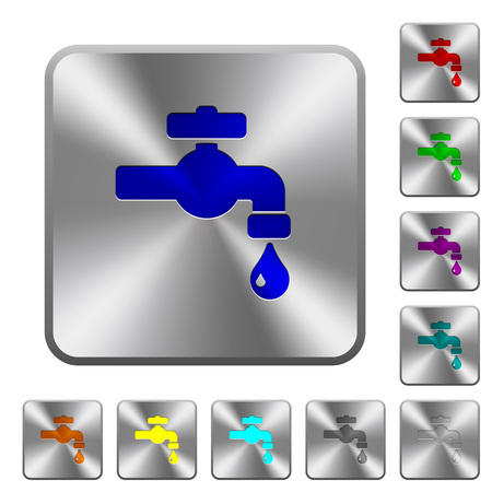 Water faucet with water drop engraved icons on rounded square glossy steel buttons