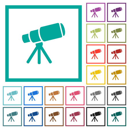 Space telescope flat color icons with quadrant frames on white background 向量圖像