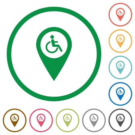 Disability accessibility GPS map location flat color icons in round outlines on white background Ilustrace
