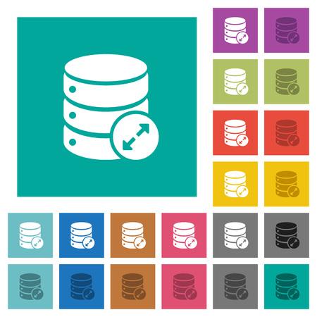 Expand database multicolored flat icons on plain square backgrounds. Illustration