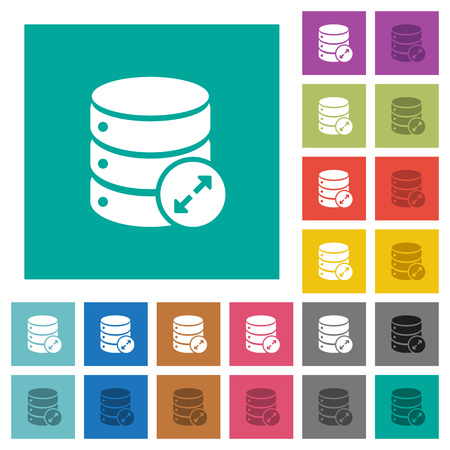 Expand database multicolored flat icons on plain square backgrounds. Stock Illustratie