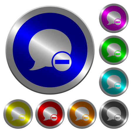Delete blog comment icons on round luminous coin-like color steel buttons