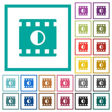 Movie contrast flat color icons with quadrant frames on white background Illusztráció