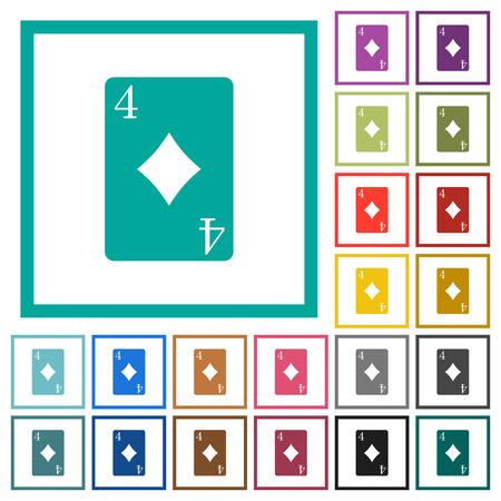 Four of diamonds card flat color icons with quadrant frames on white background Foto de archivo - 96588783