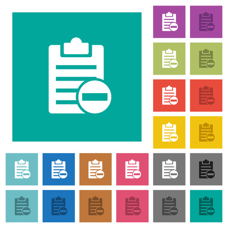 Remove note multicolored flat icons on plain square background. Illustration