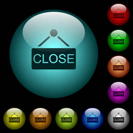 Close sign icons in color illuminated spherical glass buttons on black background. Can be used to black or dark templates Illusztráció