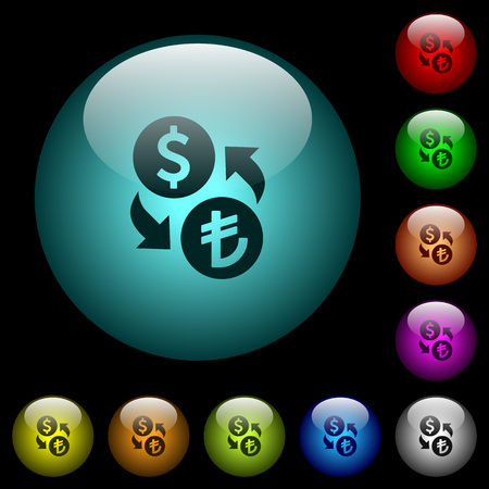 Dollar Lira money exchange icons in color illuminated spherical glass buttons on black background. Can be used to black or dark templates Illustration