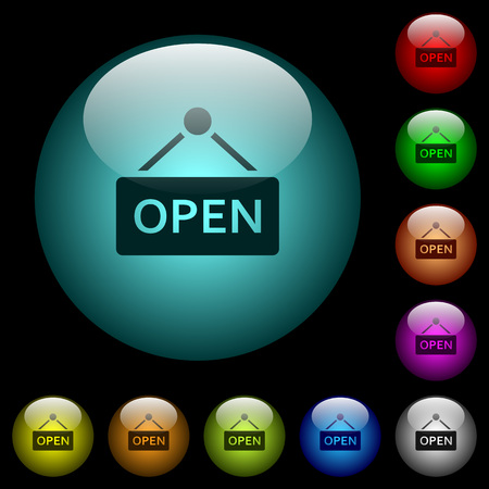 Open sign icons in color illuminated spherical glass buttons on black background.