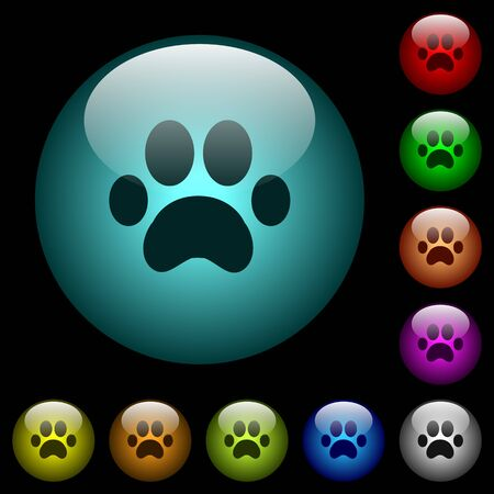 Paw prints icons in color illuminated spherical glass buttons on black background. Can be used to black or dark templates