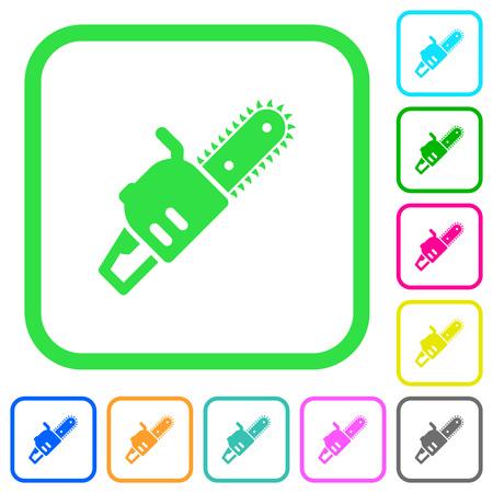 Motosierra iconos planos de colores vivos en bordes curvos sobre fondo blanco. Foto de archivo - 96568263