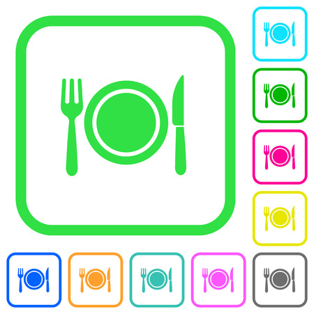 Dinner vivid colored flat icons in curved borders on white background