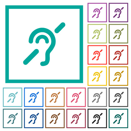 Hearing impaired flat color icons with quadrant frames on white background Vettoriali