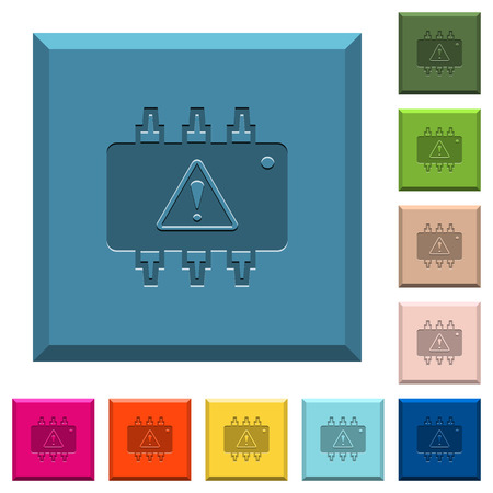 Hardware malfunction engraved icons on edged square buttons in various trendy colors