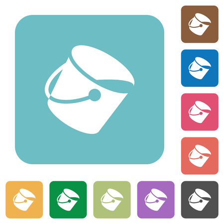 Paint bucket white flat icons on color rounded square backgrounds