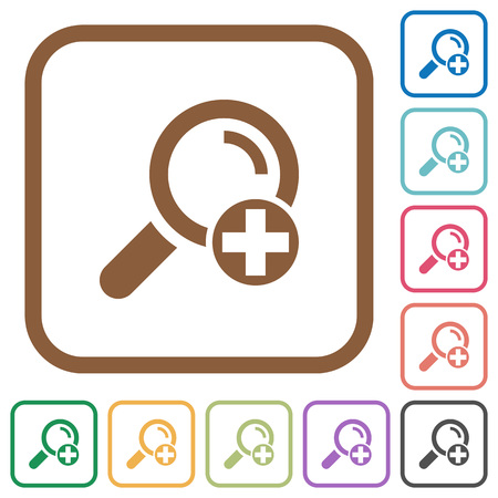 Add new search term simple icons in color rounded square frames on white background