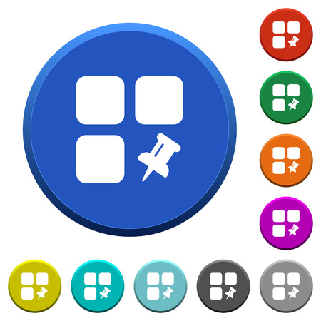Pin component round color beveled buttons with smooth surfaces and flat white icons