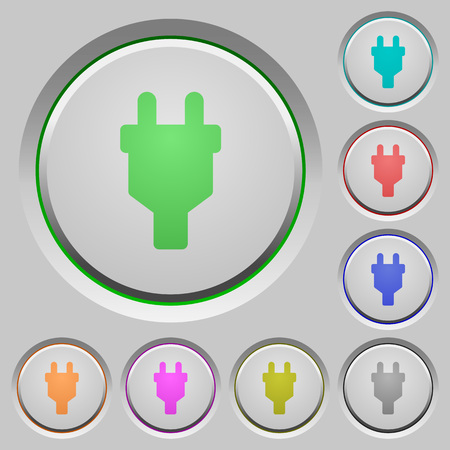 Power connector color icons on sunk push buttons