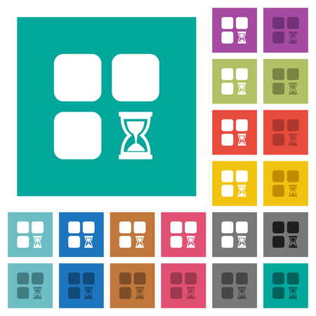 Component waiting multi colored flat icons on plain square backgrounds. Included white and darker icon variations for hover or active effects.