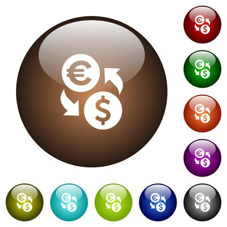 Euro Dollar money exchange white icons on round color glass buttons
