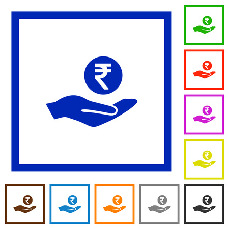 Indian rupee earnings flat color icons in square frames on white background Vectores