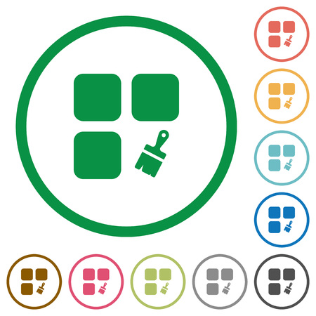 Component paste flat color icons in round outlines on white background