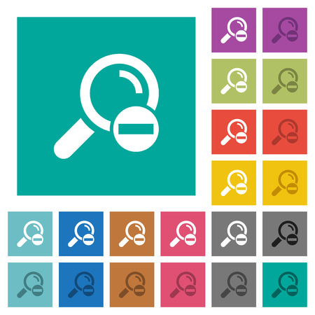 Remove search term multi colored flat icons on plain square backgrounds. Included white and darker icon variations for hover or active effects. Illustration