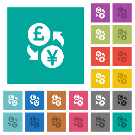 Pound Yen money exchange multi colored flat icons on plain square backgrounds. Included white and darker icon variations for hover or active effects.