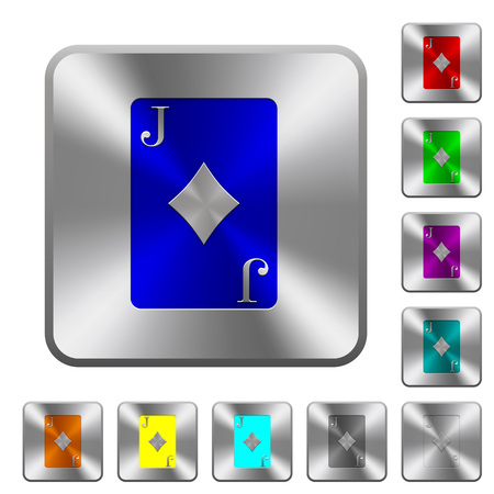 Jack of diamonds card engraved icons on rounded square glossy steel buttons