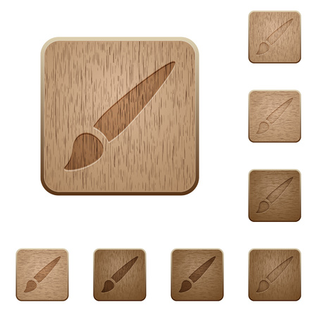 Brush on rounded square carved wooden button styles Illustration