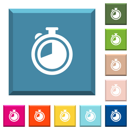 Timer white icons on edged square buttons in various trendy colors Illustration