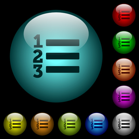 Ordered list icons in color illuminated spherical glass buttons on black background. Can be used to black or dark templates