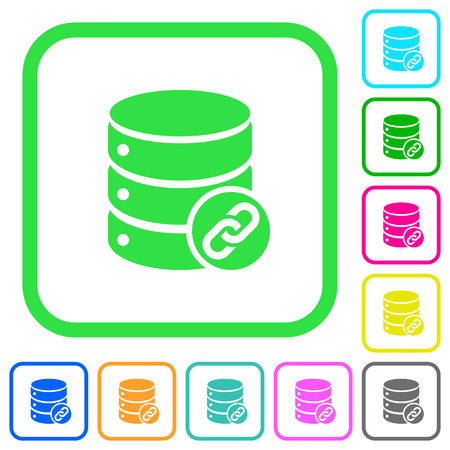 Database attachment vivid colored flat icons in curved borders on white background Illustration