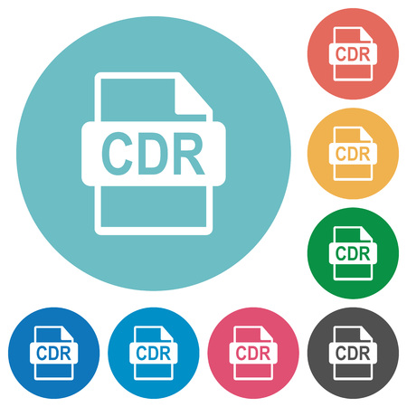 CDR file format flat white icons on round color backgrounds Illustration