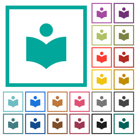 Library flat color icons with quadrant frames on white background Illustration