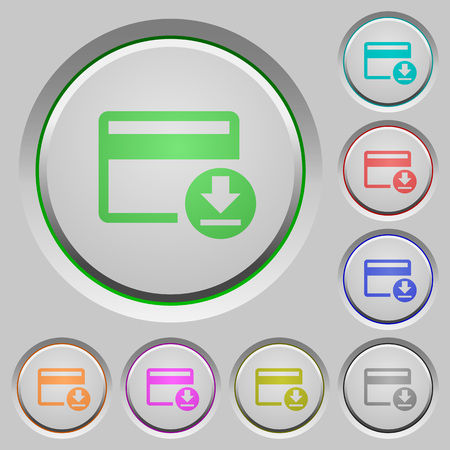 Money withdrawal with credit card color icons on sunk push buttons