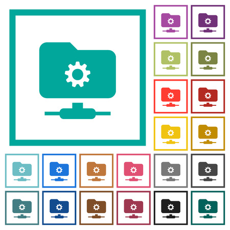 FTP settings flat color icons with quadrant frames on white background Vettoriali