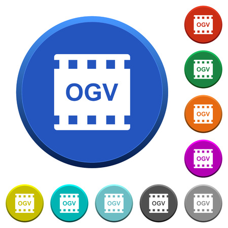 OGV movie format round color beveled buttons with smooth surfaces and flat white icons