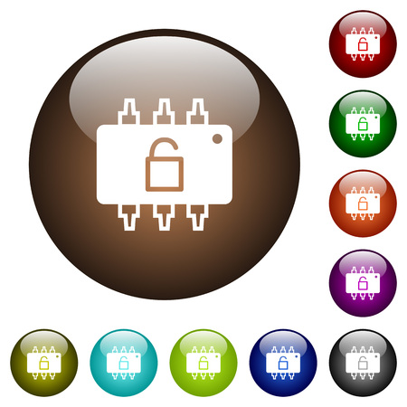 Hardware unlocked white icons on round color glass buttons. Vectores