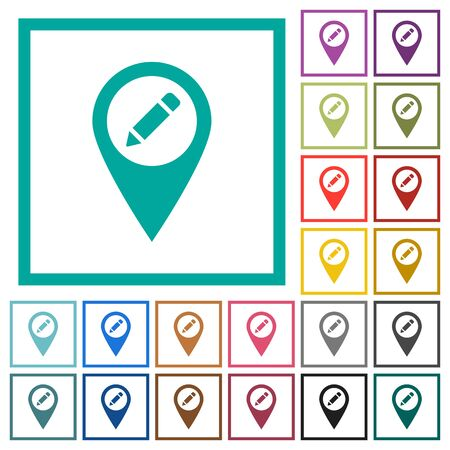 Rename GPS map location flat color icons with quadrant frames on white background.