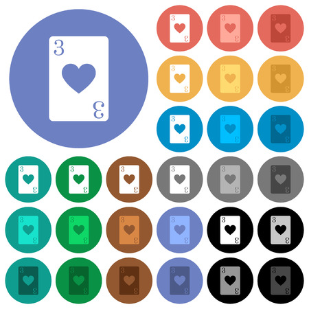 Three of hearts card flat color icons with quadrant frames multi colored flat icons on round backgrounds. Included white, light and dark icon variations for hover and active status effects, and bonus shades on black background. Foto de archivo - 96759711