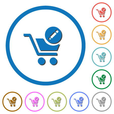 Edit cart items flat color vector icons with shadows in round outlines on white background.
