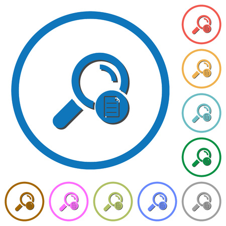 Search details flat color vector icons with shadows in round outlines on white background. 向量圖像