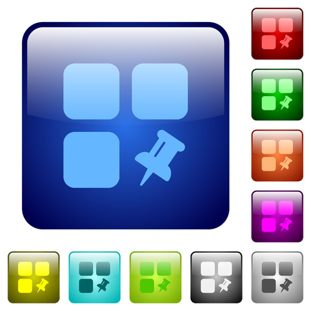 Pin component icons in rounded square color glossy button set.